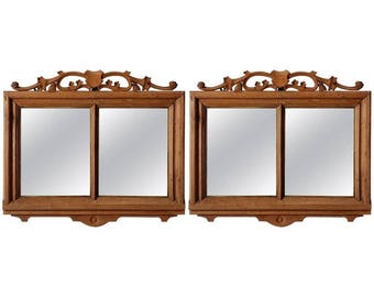 Pair of French Bleached Double Pane Mirrors with Shield [6780]
