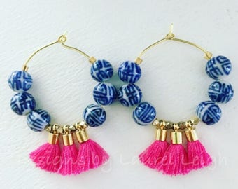 Chinoiserie Tassel Hoop Earrings | HOT PINK, blue and white, gold, Designs by Laurel Leigh