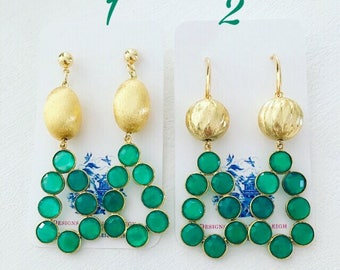 GREEN and GOLD Gemstone Earrings | lightweight, statement earrings, posts, Designs by Laurel Leigh
