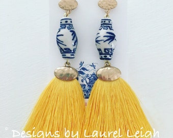 YELLOW Ginger Jar Earrings | Statement Earrings, fringe, tassels, dangle, drop, lightweight, blue and white, chinoiserie, posts