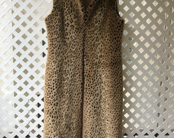 Fashionable Long Vintage Brown Faux Fur Vest Heavy And Stylish Leopard Print Women's Size Small.