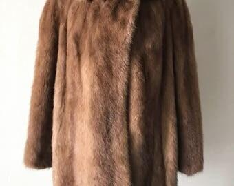 Mink fur coat woman size medium .