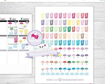 50% OFF SALE Rainy day planner stickers, printable planner stickers, rain boots planner stickers, fall planner stickers, monthly planner sti