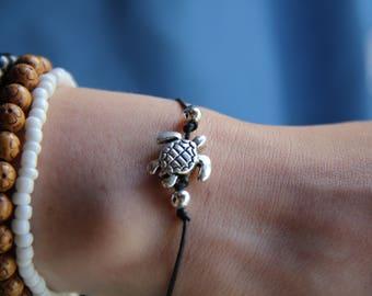 Sea turtle anklet - Sea turtle bracelet - Beach Boho Anklet black anklet silver anklet beaded bracelet beaded anklet beach summer anklet