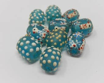 Ten beads Venetian glass paste, dimensions: 1.5 cm by 1 cm, free delivery