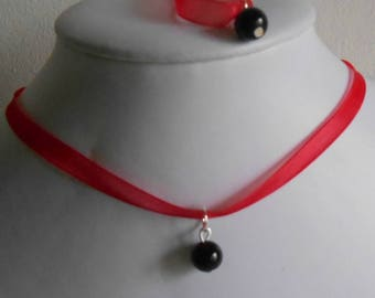 Adult/child red organza Ribbon and black pendant wedding set