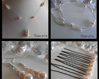 Set of 4 wedding pieces light pink pearls cascade
