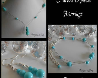 Set of 3 wedding pieces cascade of turquoise beads