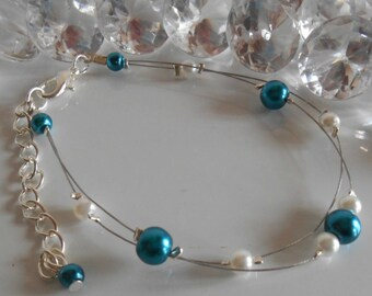 Bracelet wedding 2 row white and blue Peacock pearls