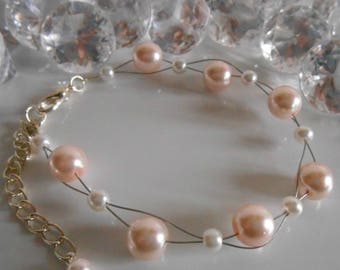 Wedding bracelet twist of pale pink and white beads