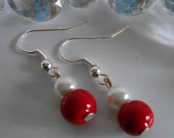 Duo of passion red and white pearls wedding earrings