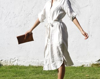 Linen shirt/jacket dress (white)