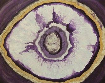 Geode Series #4-Original painting-textured-sparkle-rock-mineral-purple geode