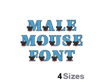 Male Mouse Font - Machine Embroidery Font - 4 Sizes, Lettering, Alphabet, Font Set, Boy Font, Child Font