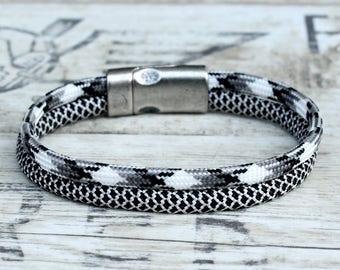 Rope bracelet, mens braided bracelet, woven bracelet, mens paracord bracelet, unisex woven bracelet, gray bracelet, rope braided bracelet