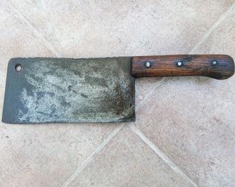 Huge,PRIMITIVE CLEAVER Knife Meat&Veg Chopper OLD Vintage Farmhouse Bladeantique hand-forget meat cleaver butcher knife chopeer