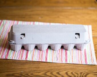 10 Flat-Top Full Dozen Egg Cartons - Blank Top - 2x6 Egg Cartons Hold 12 Eggs
