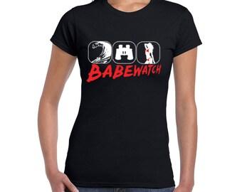 BABEWATCH, Bay Watch, Bae Watch Beach Goers Funny Women's Beach T-shirt