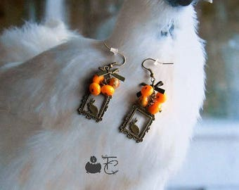 "Earrings ""Wabbits"" fancy frames bunnies and bows bronze Lampwork Glass Beads Orange"