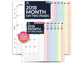 PRINTED 2018 Month on two pages Insert A5 / Personal Filofax A5 Kikki.K Large Compatible Refill Coloured MO2P
