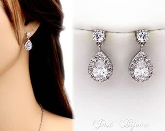 Wedding Earrings Platinum plated Zirconia Earrings Wedding Jewelry Teardrop Bride Earrings Wedding Earring Bridal Earrings Bridesmaid Gift