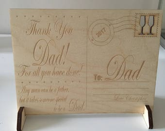 Wooden Postcard Gift For Mum/Dad! Suitable For Fathers Day, Christmas, Birthday!