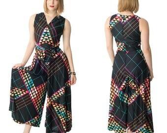 60s Mod Palazzo Jumpsuit-1960s Festival Wear-Bohemian-Boho-Wide Leg Pants-Geometric Print-Jersey Knit-Sleeveless-S-M-Sm-Med