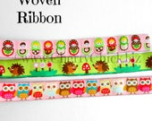 Woven Ribbon - Babushka Ribbon - Hedgehog Ribbon - Owl Ribbon - 2 yards Ribbon - Sewing Ribbon - Ribbon - Cherry Chick