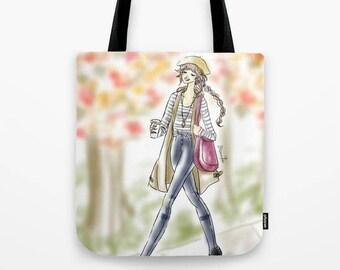 Fall Girl Tote Bag, Fashion reusable canvas bags , fashion Tote Bag, Fashion Sketch bag, Fall Love bag, Autumn Style. Fall Fashion Tote
