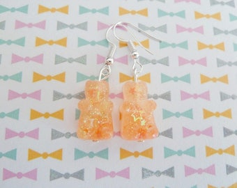 Sweet Teddy bear earring orange