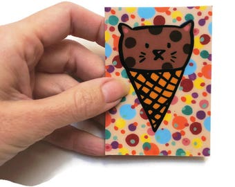 Kawaii Cat ACEO Original - Ice Cream Cat  - ATC- Original Artwork- Artist Trading Cards - Confetti Art - ATC Cards - Funny Cats - Cat Art