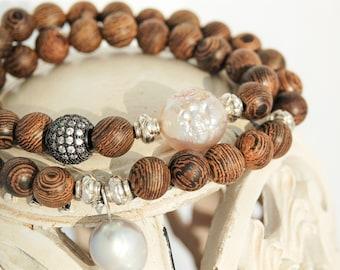 Pearl Bracelet Wrap Bracelet Baroque Pearl Bracelet June Birthstone Wooden Bracelet Mala Wood Pearls Pearl Jewelry Wenge Wood Bracelet