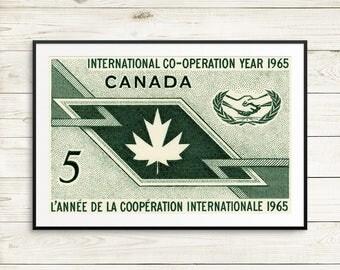 P094 International Co-operation Year, 1960s poster, 1960s era, 1960s vintage, vintage art poster, vintage Canada, antique art print, poster