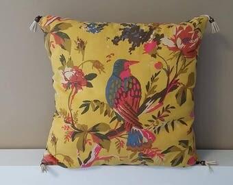 cushion pattern yellow bird