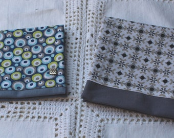 Pouch bag in gray or blue and geometric pattern / your choice