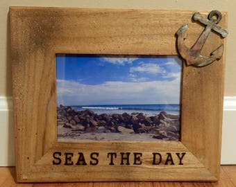 Seas The Day Wooden Picture Frame with Anchor Shape