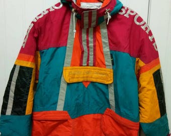 Rare Vintage KENSHO ABE SPORTS Quater Zip Jacket With Hoodie Colour Block Made In Japan Size M Medium