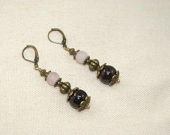 Earrings gemstones and bronze antique, jewelry designer