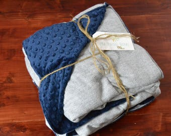Weighted Blanket for Adults - Twin- Classic Navy/White Herringbone and Luxurious Complementing Minky (40x85 inches) - Adult Weighted Blanket