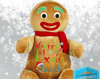 Personalised gingerbread man toy, christmas toy, xmas gift, christmas day gift