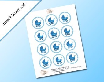 Blue Baby Shower Circle Gift Tags, Baby Shower Party Favors, Baby Carriage Design, Digital Download, Baby Shower It's a Boy Printable