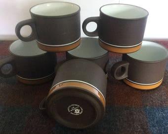 Vintage Hornsea England Lancaster Vitramic Contour x6 cups