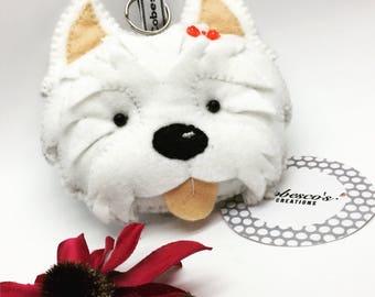 Felt Westie keyring west highland terrier bag charm keychain bag decoration