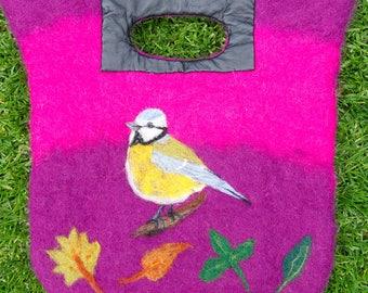 Wet Felted Bag, Handbag, Bespoke, Birds, Flowers, Gift