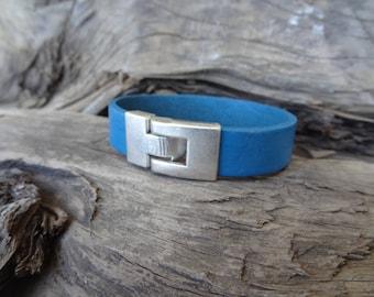 EXPRESS SHIPPING,Men's Blue Leather Bracelet,Men's Jewelry,Silver Plated Clasp Bracelet,Men's Cuff Bracelet,Father's Day Gifts,Valentine's
