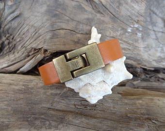 EXPRESS SHIPPING,Men's Camel Leather Bracelet,Men's Jewelry,Copper  Clasp Bracelet,Men's Cuff Bracelet,Father's Day Gifts,Valentine's