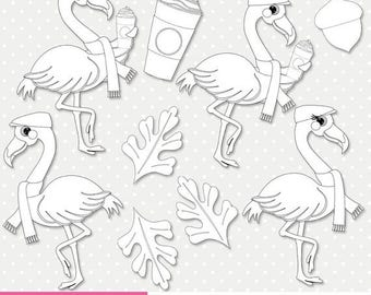 SALE Flamingo autumn coffee digital stamp, hot chocolate digi stamp, outline PNG (ST032)
