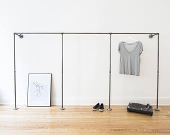 Black steel tube Open wardrobe frame clothing rack clothes rail