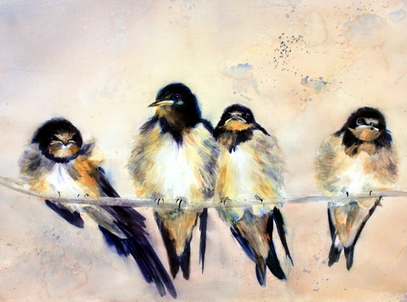 Barn Swallows - signed prints or note cards by Bonnie White