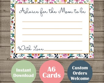 New Baby Shower Mom Advice Cards - Party Games - Gender Reveal Parties - Boho Floral Design Instant Download Game - Mommy to be